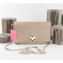 Kate Spade Gold Glitter Nicola Shimmer Twist Lock Crossbody Wallet Bag NWT - $172.76
