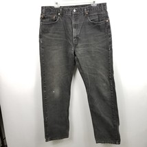 Levis 505 VTG Mens Black Jeans Pants Sz 36x33.5 Regular Fit Straight Distressed - $28.00