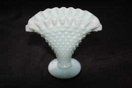 Cute Little Fenton Glass Aqua Milk Glass Fan Vase - $150.00