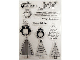 Merry Christmas, Joy, with Animals and Christmas Trees Clear Stamp Set