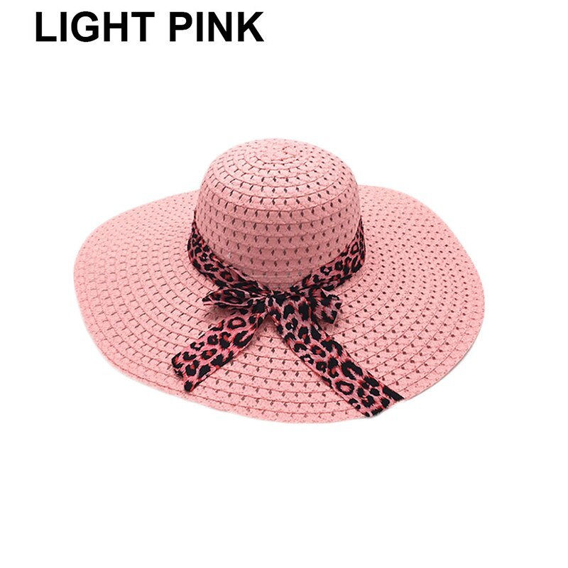 NEW 2019 Bowknot Flat Straw Beach Hat Women Floppy Fashion Lady Fold Wide Brim D image 4