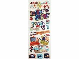 K&Company Tough Guy Little Boy Chipboard Sticker Set, Dimensional, Foiled
