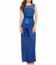 8 ADRIANNA PAPELL Sapphire Blue Sequin Vines Embroidered Column Gown NWT... - $92.07