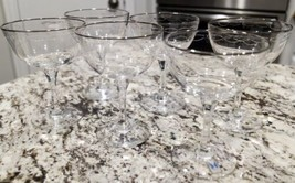 Set Of 6 Lenox Sentiment Platinum Trim Champagne Sherbet Crystal Glasses - $52.25