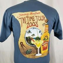 Jimmy Buffett 2003 Tiki Time Tour T-Shirt Medium Steel Blue Two Sided Pa... - $15.89