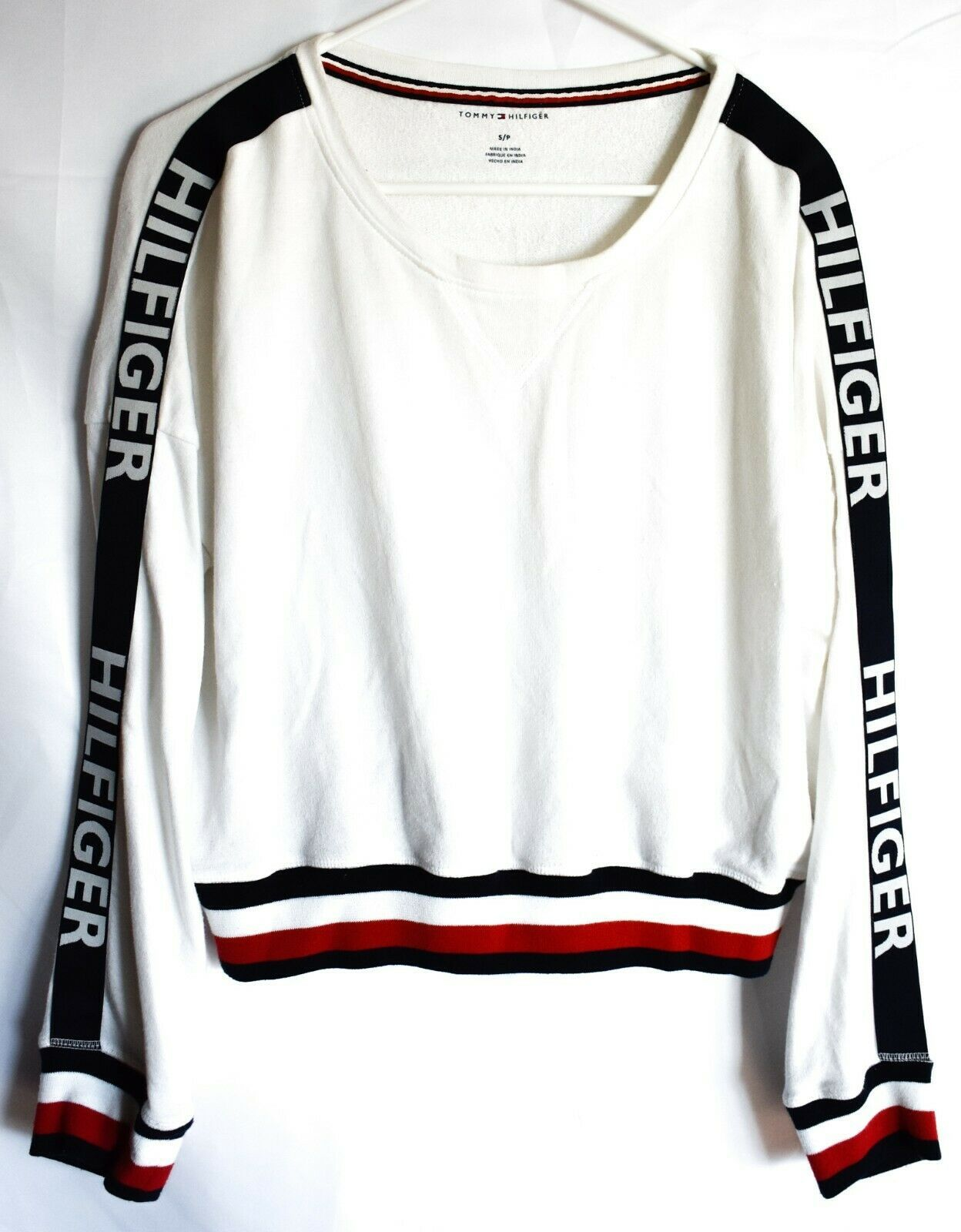 Tommy Hilfiger R26S173  Logo Long Sleeve Cropped White Pullover Sweatshirt S