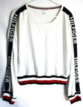 Tommy Hilfiger R26S173  Logo Long Sleeve Cropped White Pullover Sweatshirt S image 1