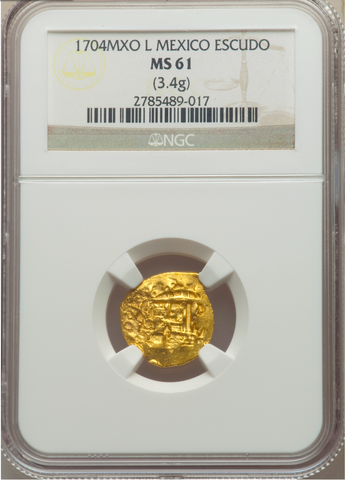 "Primary image for MEXICO 1704 ""1 KNOWN"" 1 ESCUDO NGC 61 ""1715 FLEET"" PIRATE GOLD TREASURE DOUBLOON"