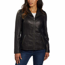 Marc New York Andrew Marc Womens Black Leather Jacket Full Zip SMALL - $74.24