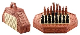 Bali Indonesian Wooden Hand Carved Chess set with 32 Chess Pieces Art Gi... - $53.34