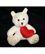 "Oriental Trading I Love You TEDDY BEAR 5"" Cream Plush Red Heart 32/1600 ... - $9.74"