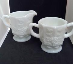 Westmoreland Milk Glass Paneled Grape Creamer Open Sugar Bowl VINTAGE - $12.13