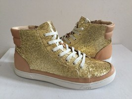 UGG GRADIE GLITTER GOLD ANKLE SNEAKERS LEATHER SHOE US 10 / EU 41 / UK 8... - $91.63