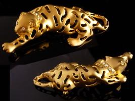 BIG Cat brooch / gold Jaguar / leopard pin / tiger rhinestone lapel pin / womens image 4