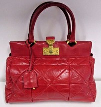 MARC JACOBS Deep Red Satchel w/ Large Quilting & Baroque Push Lock Closure - $229.99