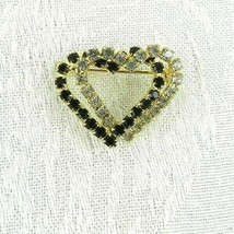 """Vintage Intertwined Heart Brooch Pin 1"""" Gold Metal Clear and Black Rhine... - $17.81"""