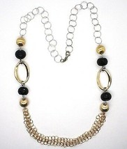 SILVER 925 NECKLACE, ONYX, OVALS WAVY, SPHERES SATIN, CHAIN ROLO' image 2