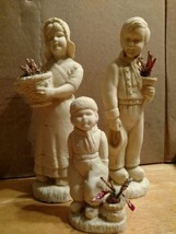 Sandstone Sculptures of Man, Lady and Child with Dried Flowers (3 pieces) - $39.60
