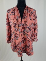 Abercrombie & Fitch women S floral blouse tab sleeve pullover - $18.81