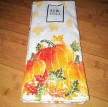 Kitchen Towels TT & Lola Fall Autumn Pumpkins Thanksgiving Tea Set of 2 - $9.85