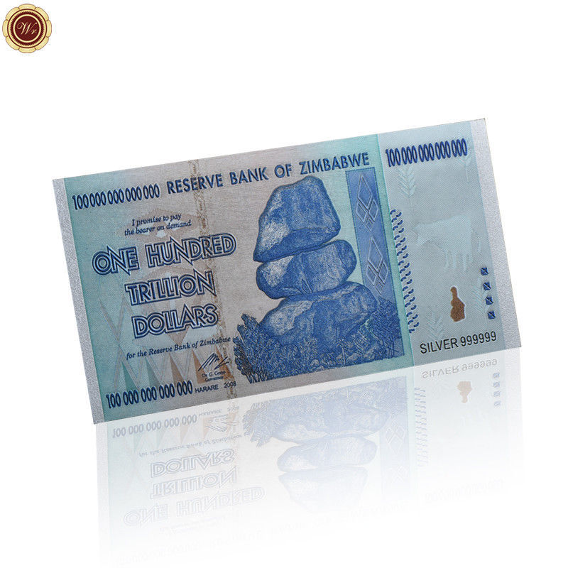 5pcs//set One Hundred Trillion Dollar Gold Banknote In Zimbabwe Envelope Gifts