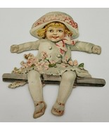 Vintage Victorian Paper Cut Out Little Girl w/ Flowers & Fancy Hat #159 - $8.00