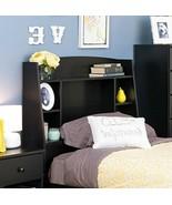 Tall Bookcase Headboard Black Twin Shelves Storage Cubby Kids Bedroom Fu... - $108.89
