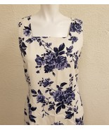 Linen Sheri Martin Blue Rose Long Tall Lined Sleeveless Dress Sz 14 Squa... - $87.07