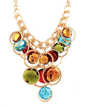 Chunky Multi Color Rainbow Fashion Statement Necklace - $37.86 CAD
