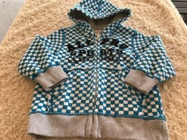 Children's Place Boys Blue White Checker Gray Cuffs Hoodie Sweatshirt All Pro 4T - $5.95
