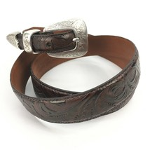 """Italian Calf Leather Belt w Silver Hardware 1996 Tooled Brown 37.5""""-42"""" - $29.20"""