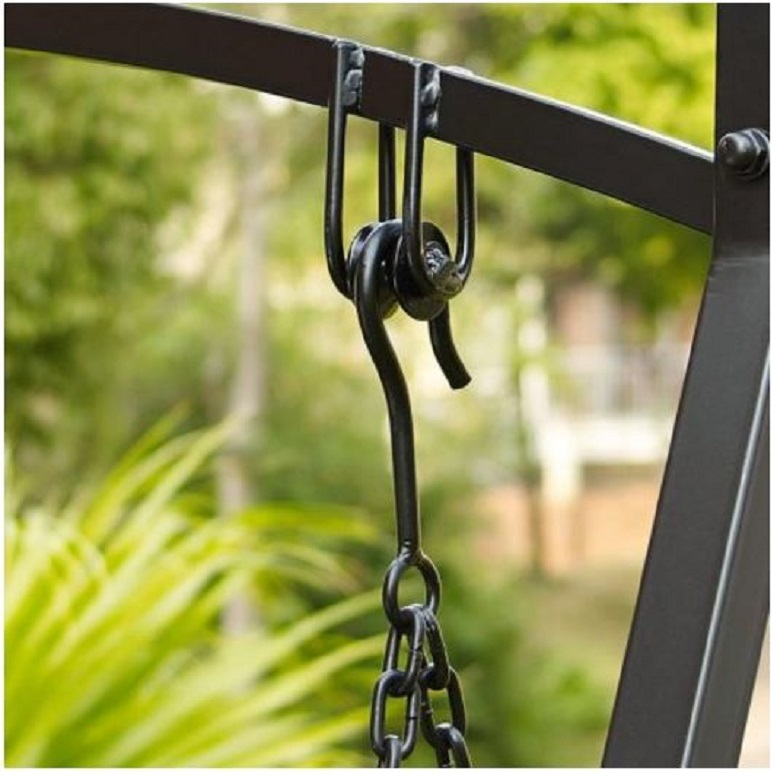 Black 4' Metal Porch Swing w/ Stand Durable Outdoor Swing for Deck Patio Garden image 2
