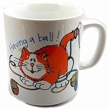 Having a Ball Cat Coffee Mug Vintage 8 oz Cup Mount Clemens Action Japan... - $10.99