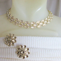 Vintage CORO Frosty Lt Gold Plate Flower Petal Choker Necklace Earrings ... - $26.99