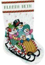Design Works Snow Sledding Sled Snowman Christmas Cross Stitch Stocking Kit 5924 - $32.95
