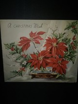 Vase of Red Poinsettias Vintage Christmas Card - $3.00
