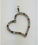 Multi gemstone 925 Sterling Silver Large Heart Cutout Pendant - $44.55