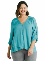 Karen Kane Zip Up Asymmetric Hem Top Blouse Womesn 2X Robins Egg Blue C5... - $11.51