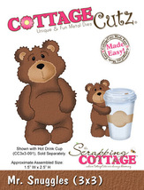 Mr. Snuggles Bear Cottage Cutz Die. Card Making. Scrapbooking