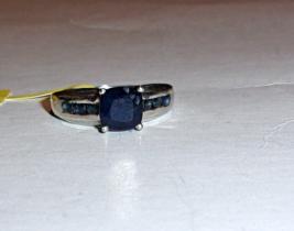 KANCHANABURI BLUE SAPPHIRE CUSHION & ROUND RING, 925 SILVER, SIZE 8, 2.64(TCW) - $89.99