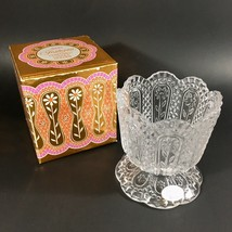 Vintage Ornate Glass Candle Holder Avon Fostoria NEW/BOX -Perfect for Te... - $4.95