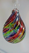 Glass Eye Studio Hand Blown Rainbow Raindrop Ornament OR201 - $29.00