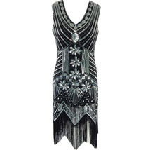Women Retro Style Sleeveless Midi Sequin Dress Tassel Short Party Dress-black