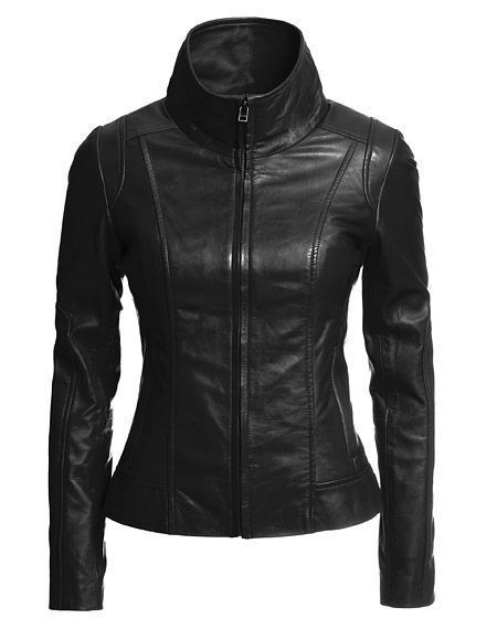WOMEN BIKER MOTORCYCLE CASUAL SLIM FIT RIDER REAL GENUINE  LEATHER JACKET-A02