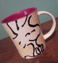 Mug Woodstock Coffee Cup Stoneware 15 oz Peanuts Tea Red White Yellow Bird - $18.92