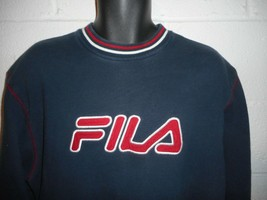 Vintage 90s Blue White Red Fila Embroidered Sweatshirt M/L - $39.99