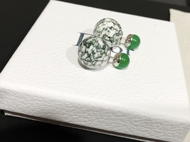 Authentic Christian Dior LIMITED EDITION GREEN MARBLE Tribal Pearl Earrings RARE image 5