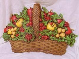 Vtg 70s HOMCO Wall Plaque Fruit Basket Apples Ladybug Hanging Retro Kitc... - $18.00