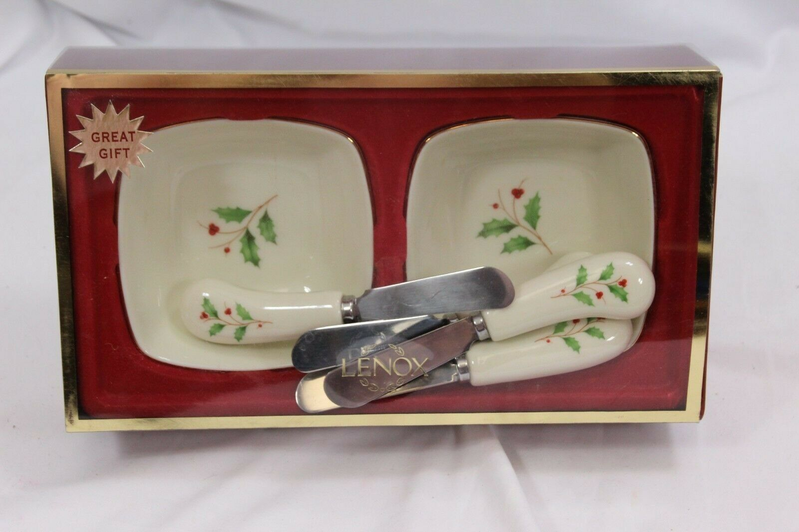 Lenox Holiday Dipping Bowls with 4 Spreaders image 2