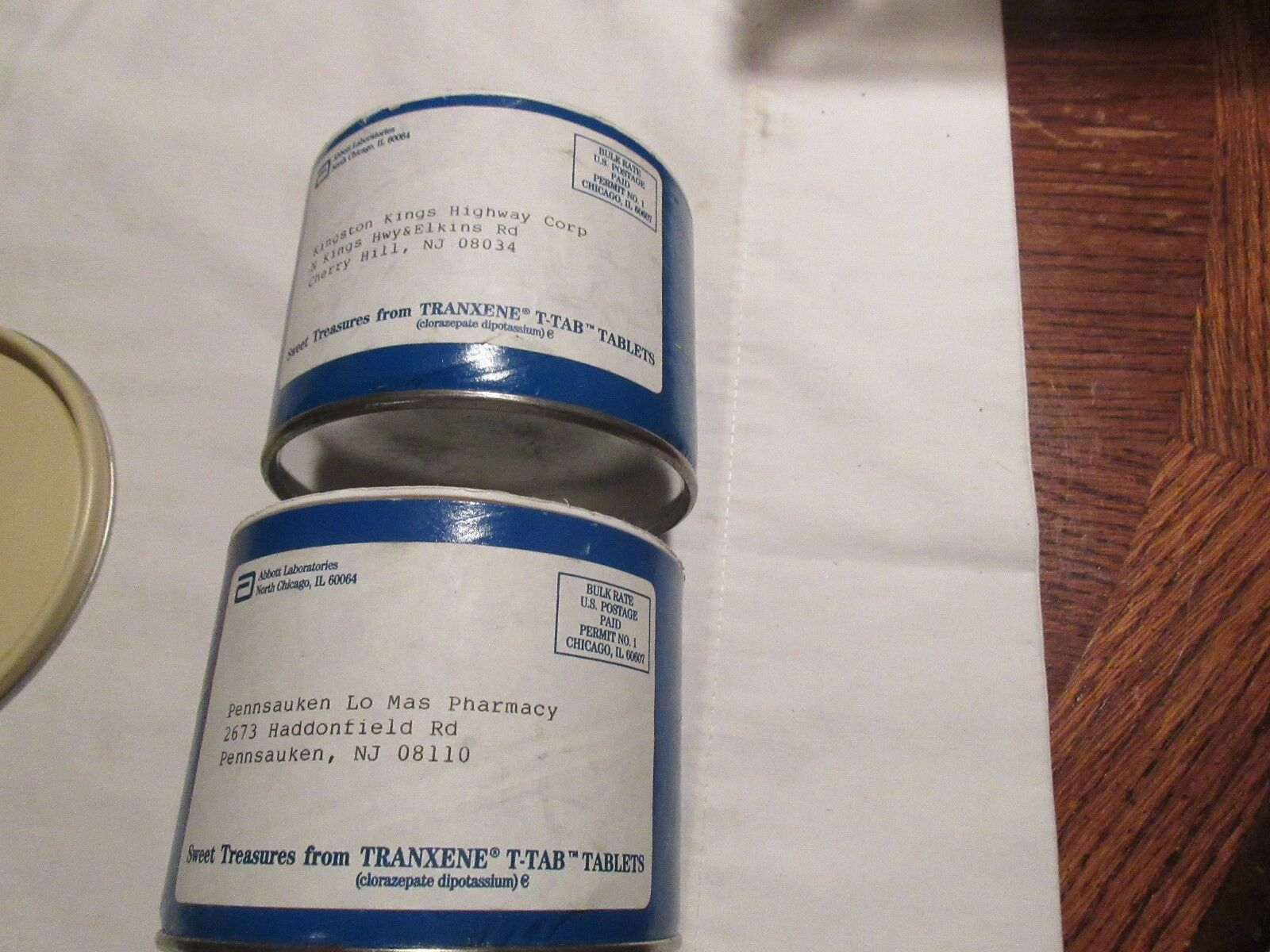 "Rx ,Pharmacy ,Tranxzene T-Tab ,3"" X 4"" X 4"" , Abbott , Lot of 2 ,Sweet Treasures"